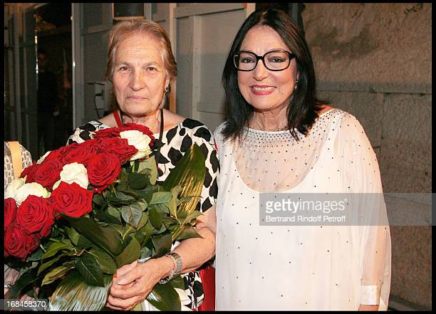 Nana Mouskouri and her sister Eugenie at Nana Mouskouri's Farewell Concert At Odeon Herodes Atticus In Athens