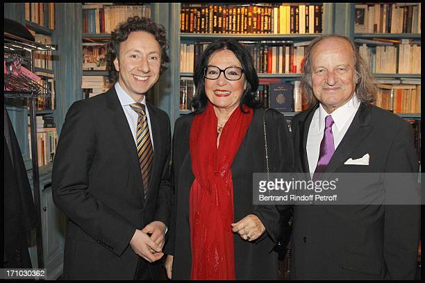 Nana Mouskouri and husband Andre Chapelle Stephane Bern at Stephane Bern Is Honoured At His Paris Home With The Title Of Officier De L'Ordre Des Arts...