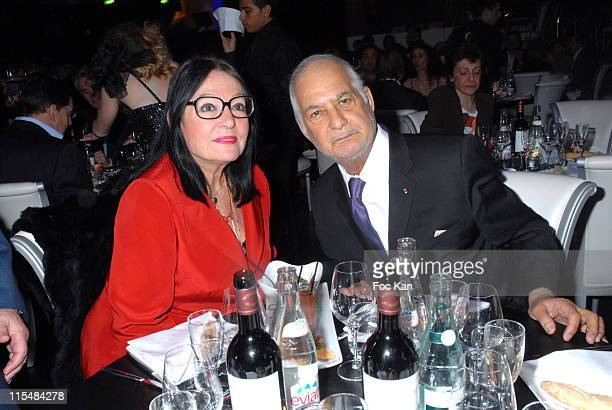Nana Mouskouri and Jean Claude Brialy during Unveiling of the New Theatre Bobino in Paris at Theatre Bobino in Paris France