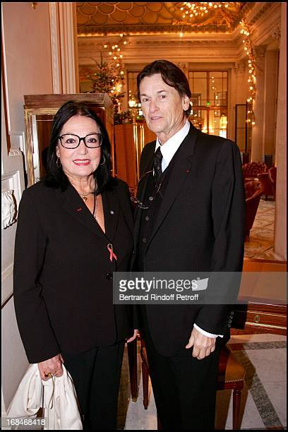 Nana Mouskouri and Jean Louis Scherrer Lunch at the Meurice hotel in Paris organized by the foundation for Childhood