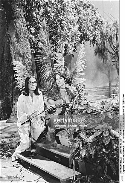 Nana Mouskouri and Joan Baez attend a television show in Paris