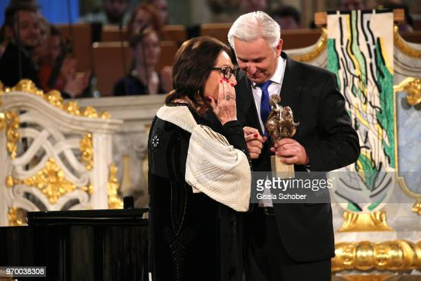 Nana Mouskouri and Klaus Wowereit during the European Culture Awards TAURUS 2018 at Dresden Frauenkirche on June 8 2018 in Dresden Germany