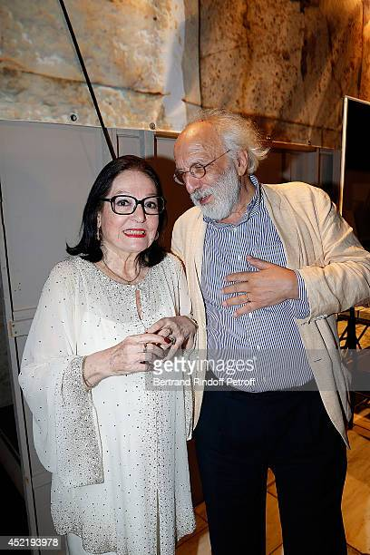 Nana Mouskouri and Konstantinos Lykourezos Hero of the resistance by Law against the colonels pose after the 'Nana Mouskouri Birthday Tour' In Herod...