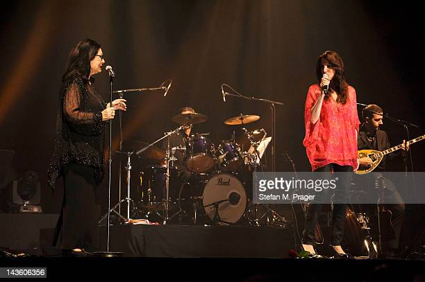 Nana Mouskouri and Lenou Mouskouri perform on stage at Kleine Olympiahalle on April 30 2012 in Munich Germany
