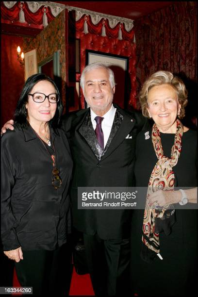 Nana Mouskouri and Madame Bernadette Chirac at the Celebration Of The Hit Show J' Ai Oublie De Vous Dire Featuring Jean Claude Brialy At The Theatre...
