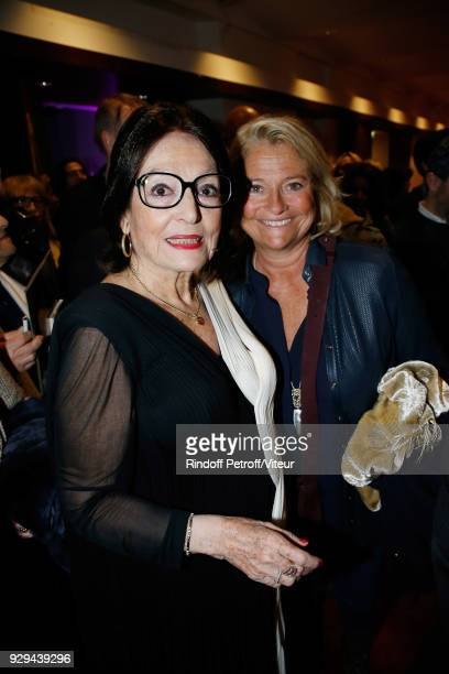Nana Mouskouri and Marina Carrere d'Encausse attend Nana Mouskouri Forever Young Tour 2018 at Salle Pleyel on March 8 2018 in Paris France
