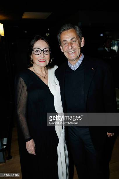 "Nana Mouskouri and Nicolas Sarkozy attend ""Nana Mouskouri Forever Young Tour 2018"" at Salle Pleyel on March 8, 2018 in Paris, France."