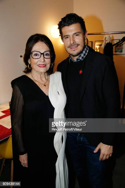 """Nana Mouskouri and Vincent Niclo attend """"Nana Mouskouri Forever Young Tour 2018"""" at Salle Pleyel on March 8, 2018 in Paris, France."""
