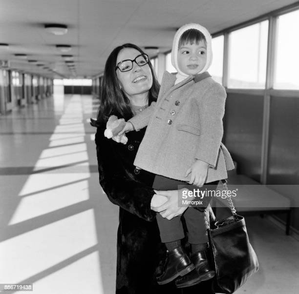 Nana Mouskouri arrives at Heathrow Airport from paris, with her son Nicky, aged 2. Nana is here for six weeks to make a series for BBC television,...