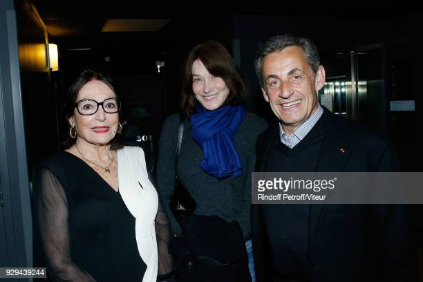 Nana Mouskouri Carla Bruni Sarkozy and Nicolas Sarkozy attend Nana Mouskouri Forever Young Tour 2018 at Salle Pleyel on March 8 2018 in Paris France