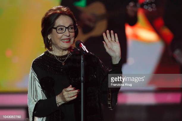 Nana Mouskouri during the television show 'Willkommen bei Carmen Nebel' at Velodrom on September 29 2018 in Berlin Germany