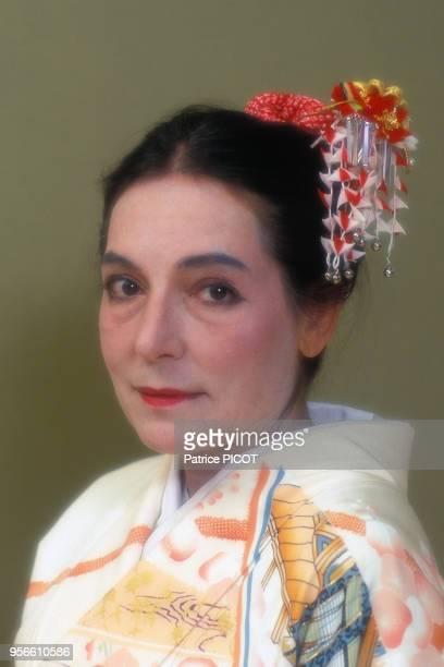Nana Mouskouri habillée en Geisha à Tokyo en septembre 1990 Japon