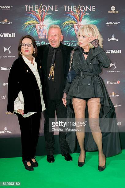 Nana Mouskouri Jean Paul Gaultier and Amanda Lear attend the 'THE ONE Grand Show' World Premiere Dancers at FriedrichstadtPalast on October 6 2016 in...