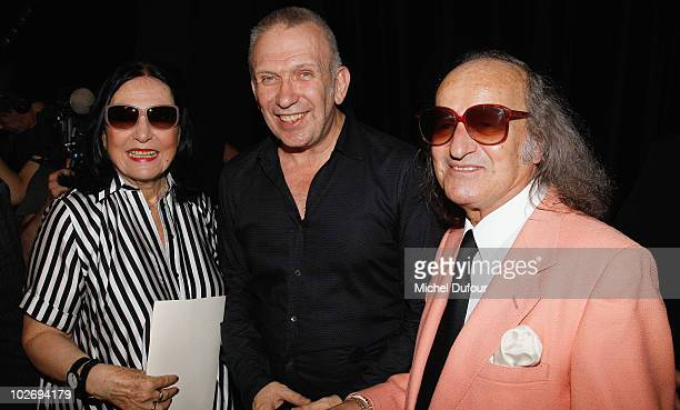 Nana Mouskouri, Jean Paul Gaultier and guest attend the Jean Paul Gaultier fashion show as part of the Paris Haute Couture Fashion Week Fall/Winter...