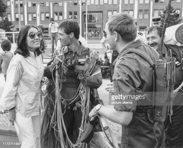Nana Mouskouri on 13 July 1982 in Berlin at rehearsals with the choir of the French garrison for the parade to the French national holidayThe greek...