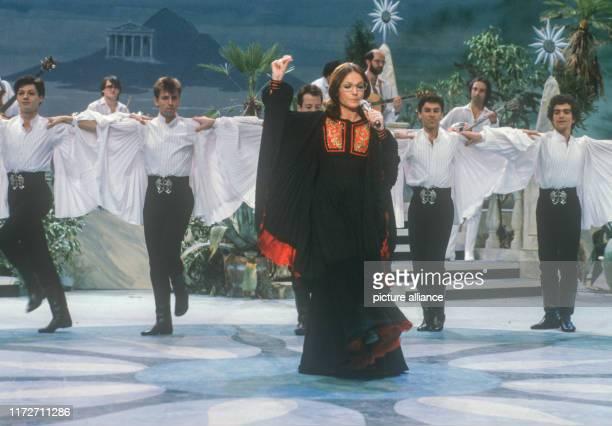 Nana Mouskouri on 18 February 1983 in Hanover in her show Zu meinem Glück gehört MusikThe greek singer and politician was born an 13 October 1934  ...