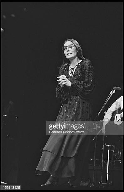 Nana Mouskouri on stage at the Olympia music hall in Paris in 1979