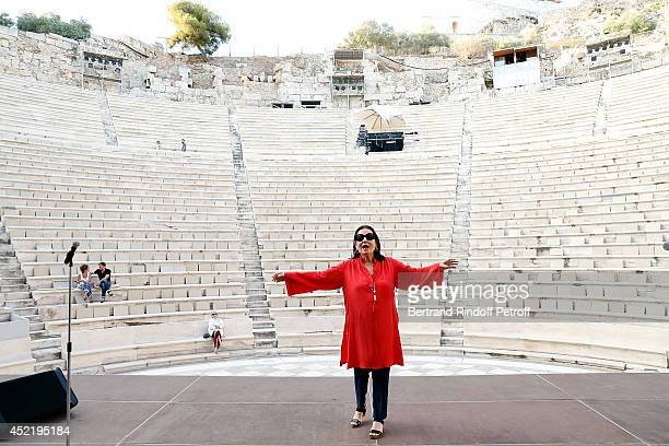 Nana Mouskouri perfoms during the repetitions before the 'Nana Mouskouri Birthday Tour' In Herod Atticus Odeon Theatre on July 14, 2014 in Athens,...