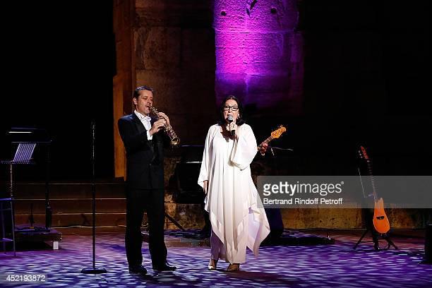 Nana Mouskouri performs at 'Nana Mouskouri Birthday Tour' In Herod Atticus Odeon Theatre on July 14 2014 in Athens Greece