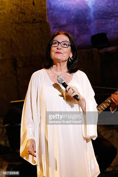 Nana Mouskouri performs at 'Nana Mouskouri Birthday Tour' In Herod Atticus Odeon Theatre on July 14, 2014 in Athens, Greece.