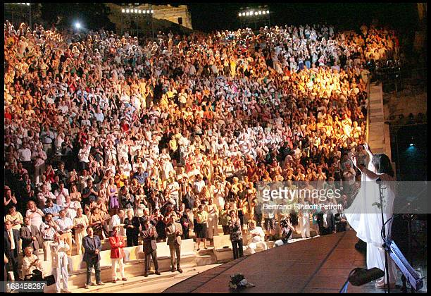 Nana Mouskouri performs at Nana Mouskouri's Farewell Concert At Odeon Herodes Atticus In Athens