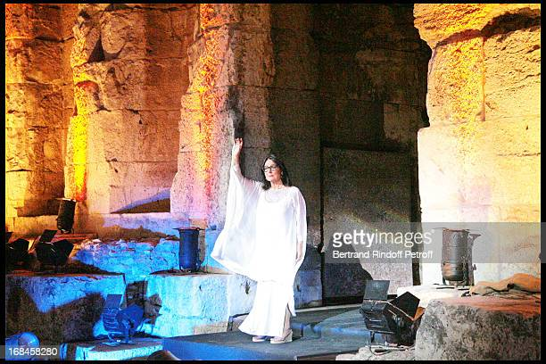 Nana Mouskouri performs at Nana Mouskouri's Farewell Concert At Odeon Herodes Atticus In Athens.