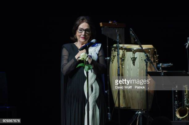 Nana Mouskouri performs at Salle Pleyel on March 8 2018 in Paris France