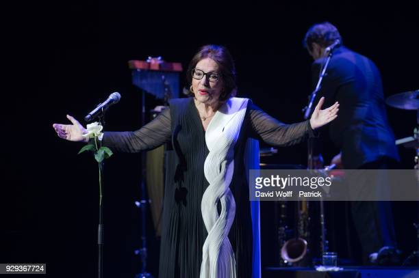 Nana Mouskouri performs at Salle Pleyel on March 8, 2018 in Paris, France.