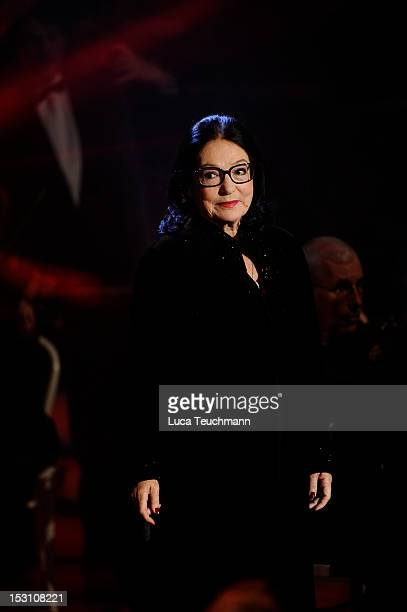 Nana Mouskouri performs during the 'Adventsfest der 100000 Lichter' TV Show at the Congress Centrum Suhl on November 26 2011 in Suhl Germany