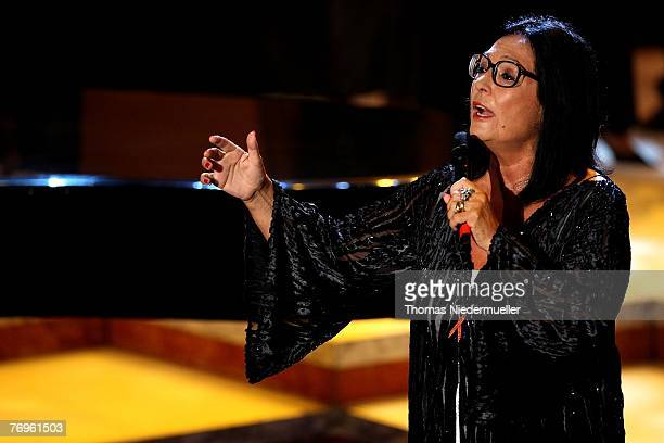Nana Mouskouri performs during the recording of TV show 'Die goldene Stimmgabel 2007' presented by Dieter Thomas Heck in the FriedrichEbertHall on...