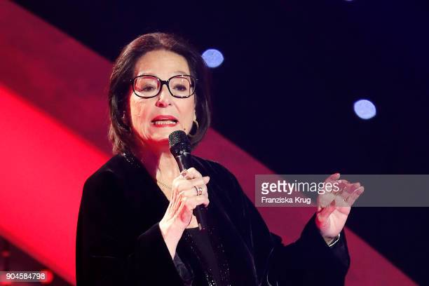 Nana Mouskouri performs during the 'Schlagerchampions Das grosse Fest der Besten' TV Show at Velodrom on January 13 2018 in Berlin Germany
