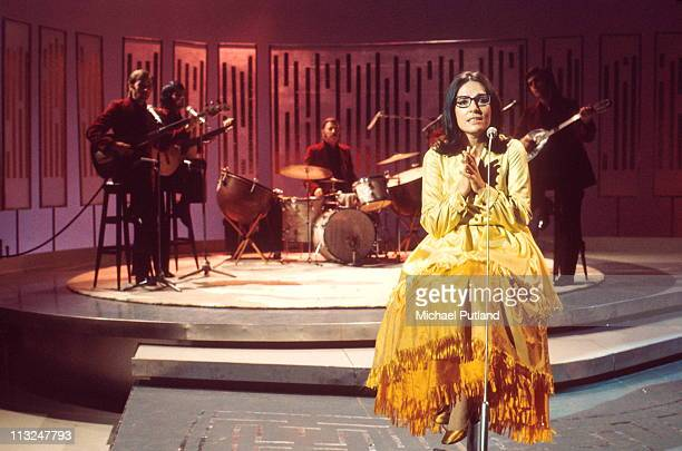 Nana Mouskouri performs on a TV show circa 1970.