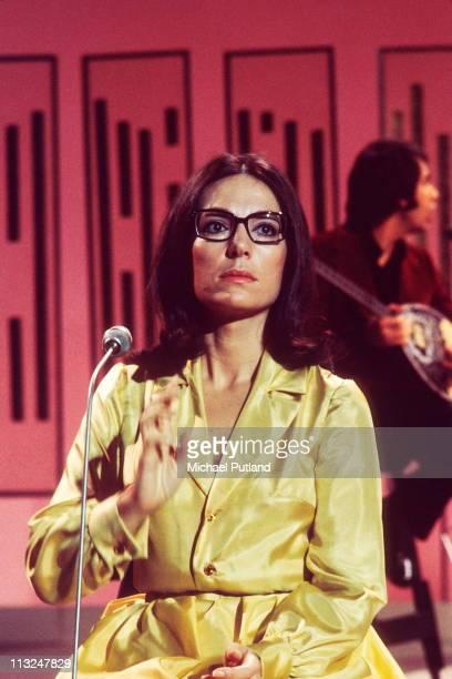 Nana Mouskouri performs on a TV show circa 1970