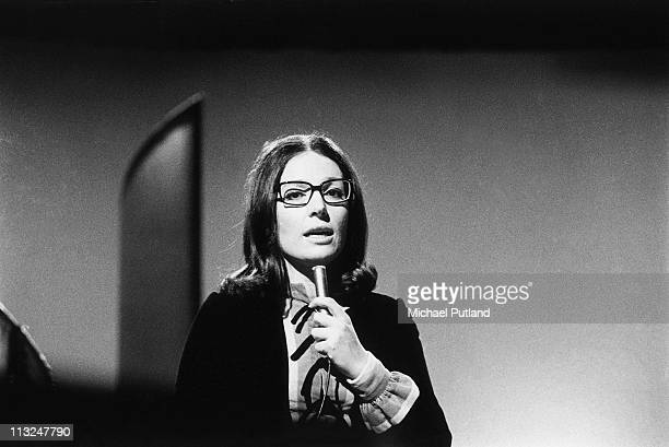 Nana Mouskouri performs on a TV show in 1970.