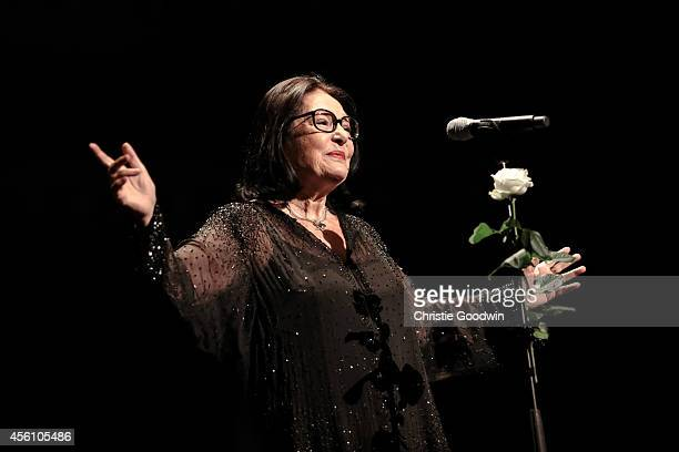 Nana Mouskouri performs on stage at Royal Albert Hall on September 25 2014 in London United Kingdom