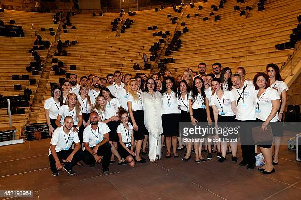 Nana Mouskouri poses after the 'Nana Mouskouri Birthday Tour' In Herod Atticus Odeon Theatre on July 14 2014 in Athens Greece