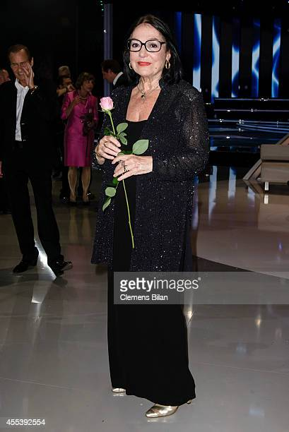 Nana Mouskouri poses after the 'Willkommen bei Carmen Nebel' show at Velodrom on September 13 2014 in Berlin Germany