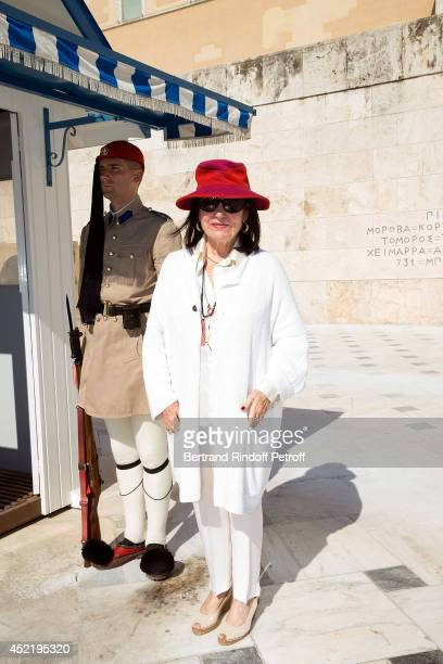 Nana Mouskouri poses in front of the presidential palace Herod Atticus before the 'Nana Mouskouri Birthday Tour' In Herod Atticus Odeon Theatre on...