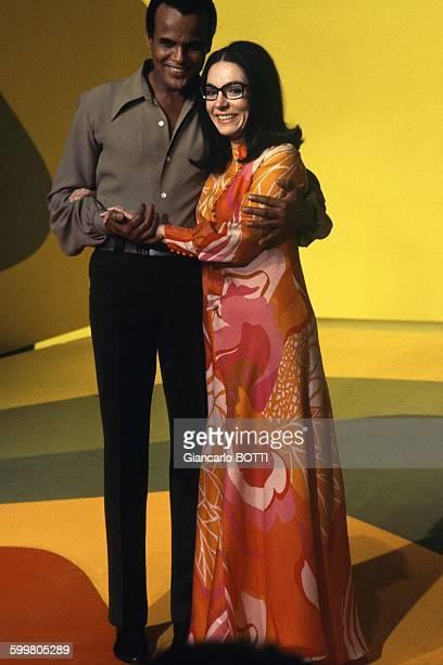 Nana Mouskouri Singing With American Singer Harry Belafonte In Paris France Circa 1970
