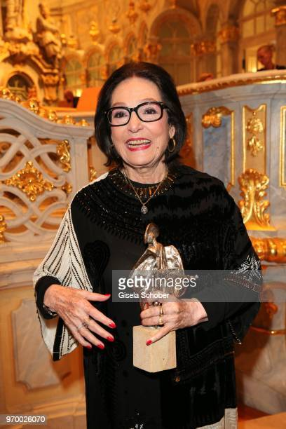 Nana Mouskouri with award during the European Culture Awards TAURUS 2018 at Dresden Frauenkirche on June 8, 2018 in Dresden, Germany.