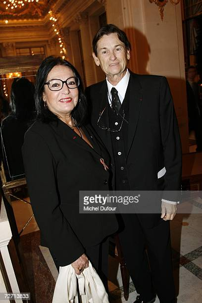 Nana Mouskouri with Jean Louis Scherrer attend the Fondation Pour L'Enfance lunch at the Meurice Hotel before the ball at Versailles on December 4...