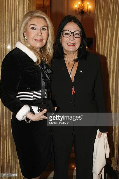 Nana Mouskouri with Marianna V Vardinoyannis attend the Fondation Pour L'Enfance lunch at the Meurice Hotel before the ball at Versailles on December...