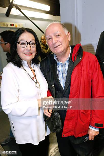 Nana Mouskouri with the autor of her songs Claude Lemesle pose after Nana Mouskouri perfomed on her Happy Birthday Tour Held at 'Theatre du Chatelet'...