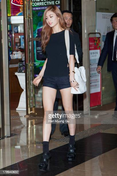 Nana of South Korean girl group After School attends during the opening of luxury bag brand 'Linoui' at Lotte Department Store on August 31 2013 in...