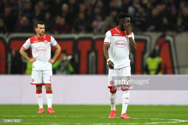 Nana Opoku Ampomah of Fortuna Dusseldorf looks dejected after his team concede during the Bundesliga match between Fortuna Duesseldorf and Borussia...