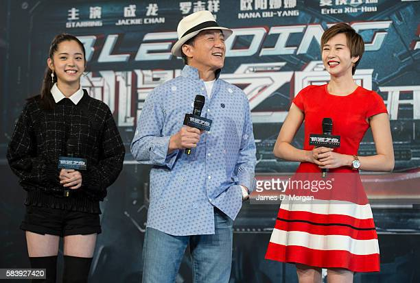 Nana Ouyang Jackie Chan and Erica XiaHou during a press conference and photocall for Bleeding Steel at Sydney Opera House on July 28 2016 in Sydney...