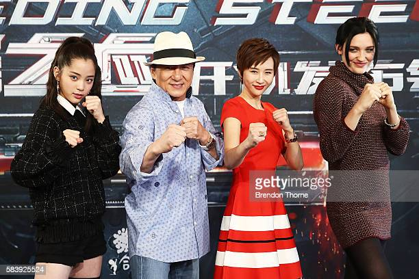 Nana Ouyang Jackie Chan Erica Xiahou and Tess Haubrich during a press conference and photocall for Bleeding Steel at Sydney Opera House on July 28...