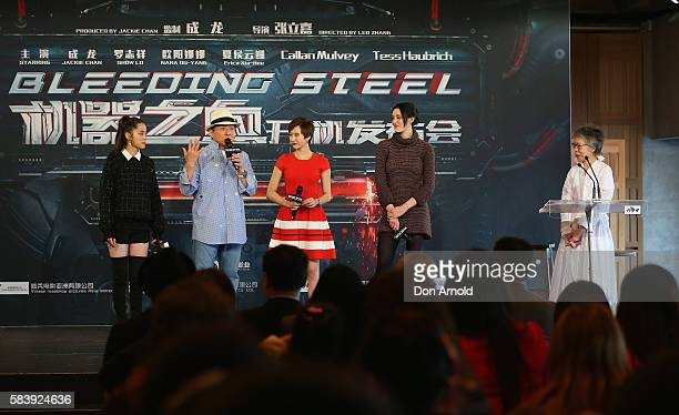 Nana Ouyang Jackie Chan Erica Xiahou and Tess Haubrich look on as Lee Lin Chin addresses media during a press conference and photocall for Bleeding...