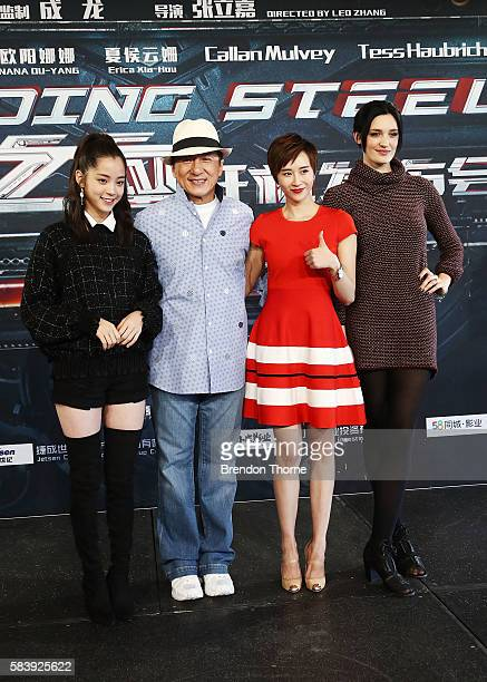Nana Ouyang Jackie Chan Erica Xiahou and Tess Haubrich pose during a press conference and photocall for Bleeding Steel at Sydney Opera House on July...