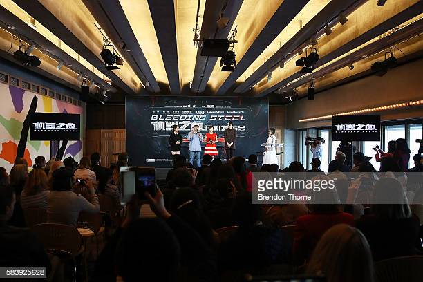 Nana Ouyang Jackie Chan Erica Xiahou and Tess Haubrich speak on stage during a press conference and photocall for Bleeding Steel at Sydney Opera...